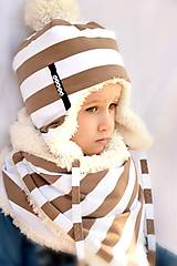 zimný set s menom mokka pruhy & fleece cream