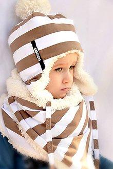 Detské súpravy - zimný set s menom mokka pruhy & fleece cream - 7337020_