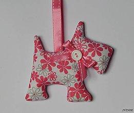 Drobnosti - Prívesok na kľúče - ružový psík - 7333635_