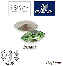 Korálky - SWAROVSKI® ELEMENTS 4200 Navette - Peridot, 10x5mm, bal.1ks - 7335240_