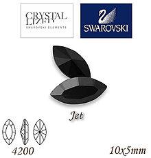 Korálky - SWAROVSKI® ELEMENTS 4200 Navette - Jet, 10x5mm, bal.1ks - 7335242_