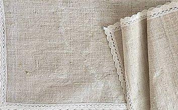 Úžitkový textil - Prestieranie a štóla z ručne tkaného ľanu - 7336499_