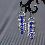 Náušnice - Korálkové hřbety - náušnice (modré) - 7340921_