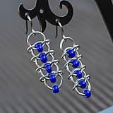 Náušnice - Korálkové hřbety - náušnice (modré) - 7340923_