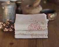 Úžitkový textil - Set troch ľanových utierok s ručnou potlačou ruží a pivónií - 7337812_