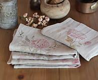 Úžitkový textil - Set troch ľanových utierok s ručnou potlačou ruží a pivónií - 7337814_