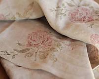 Úžitkový textil - Set troch ľanových utierok s ručnou potlačou ruží a pivónií - 7337818_