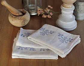 Úžitkový textil - Set troch ľanových utierok s ručnou potlačou motívov