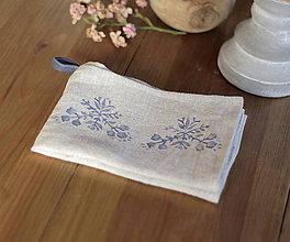 Úžitkový textil - Ľanová utierka s autorským folk motívom - 7337975_