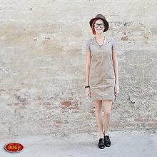 Šaty - hnědobéžová elastická šatovka z manšestru 36,38,40 - 7339714_