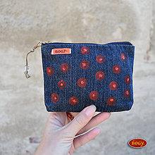 Peňaženky - džínová recy peněženka s potiskem puntíků - 7339818_