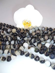 Minerály - achát čiernobiely korálky fazetované 10mm - 7338772_