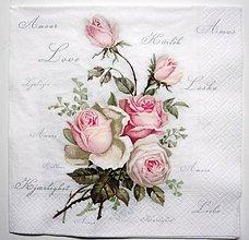 Papier - Servítka V7- Love Rose 40x40 cm !!! novinka - 7339089_
