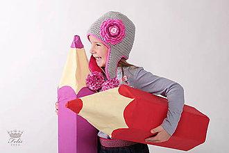 Detské čiapky - sivá s ružovou - 7339788_