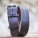 Opasky - Klasický opasok s ryhovaním v hnedej farbe /4cm/ - 7339111_