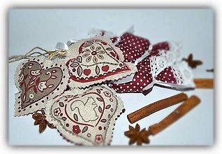 Dekorácie - Vidiecke vianoce - sada bordová - 7342005_