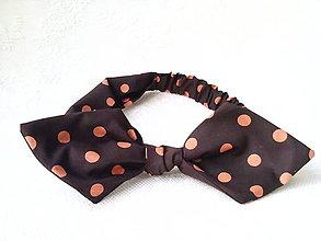 Ozdoby do vlasov - Pin Up headband on elastic (dark chocolate/orange polka dots) - 7343122_