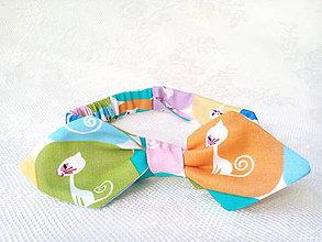 Ozdoby do vlasov - Pin Up headband on elastic for kids (white cats) - 7343162_