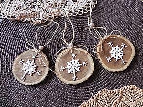 Dekorácie - Vianočná sada - drievka s nežnou čipkovanou vločkou:-) - 7345178_
