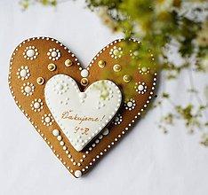 Darčeky pre svadobčanov - SVADOBNÉ medovníkové SRDIEČKO pre RODIČOV - 7343461_