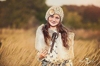 Čiapky - Krémová baretka a kožušinový golier - 7342247_