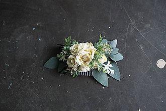 Ozdoby do vlasov - Kvetinový ivory hrebienok \