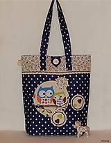 - Nákupná taška - tmavomodré guľky so sovičkami - 7344086_