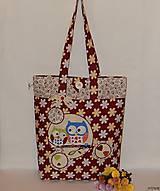 - Nákupná taška - bordová so sovičkami - 7344546_