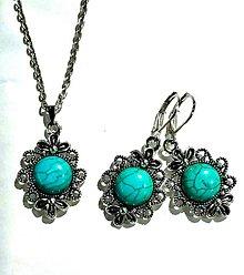 Sady šperkov - Antique silver Tyrkenite Set / Sada s tyrkenitom - 7347061_