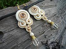 - Soutache náušnice Luxury Ivory&Gold..svadobné - 7348520_