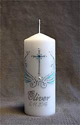 krstová sviečka s krížikom - modrá/strieborná
