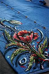 Šaty - vlčí mak - maľba na riflových šatách - 7350217_