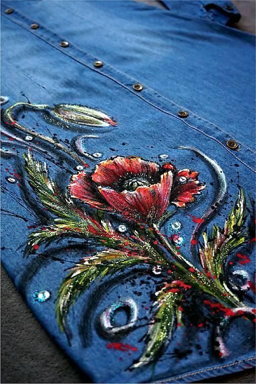 Vlčí mak - maľba na riflových šatách   zeiko - SAShE.sk - Handmade Šaty 9451f076592
