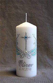 Svietidlá a sviečky - krstová sviečka s krížikom - modrá/strieborná - 7349771_