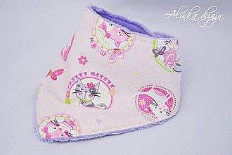 Detské doplnky - Nákrčník teplý ružové mačičky - 7348525_