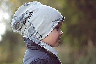 Detské čiapky - BIO obojstranná detská čiapka - Cute foxes grey - 7346159_