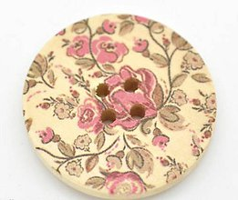 Galantéria - Drevený gombík 3cm s kvetinkou - 7347611_
