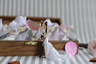 Darčeky pre svadobčanov - Svadobné magnetky, čiernobiele miniatúrky, 20ks - 7349033_