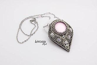 Náhrdelníky - Vyšívaný náhrdelník Pink Luna Soft - 7354569_