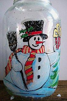 Svietidlá a sviečky - Vianočný svietnik snehuliak Adam Veľký - 7355706_