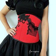 Šaty - Červený gotický korzet - 7350314_