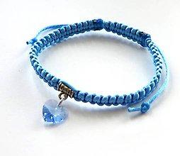 Náramky - So Swarovski srdiečkom - modrý svetlý - 7354976_