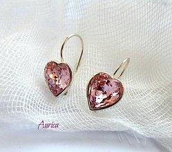 Náušnice - Strieborné naušnice - srdíčka Swarovski crystals - 7353757_