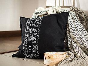 Úžitkový textil - Vankúš Čičmany čierny - ručná potlač 45x45 - 7355419_