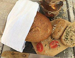 Úžitkový textil - Vrecko na chlieb z ručne tkaného ľanu 3v1 50x29 - 7350621_
