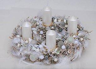 Dekorácie - adventný biele pierka - 7360785_