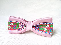Ozdoby do vlasov - Mini Folklore hair clip (vintage pink/red) - 7356944_