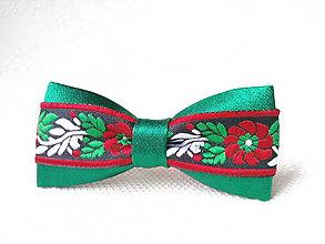 Ozdoby do vlasov - Mini Folklore hair clip (green/black) - 7356956_