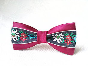 Ozdoby do vlasov - Mini Folklore hair clip (bordeaux/black) - 7356958_