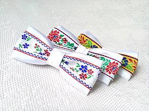 Ozdoby do vlasov - Mini Folklore hair clips (white/yellow) - 7356979_